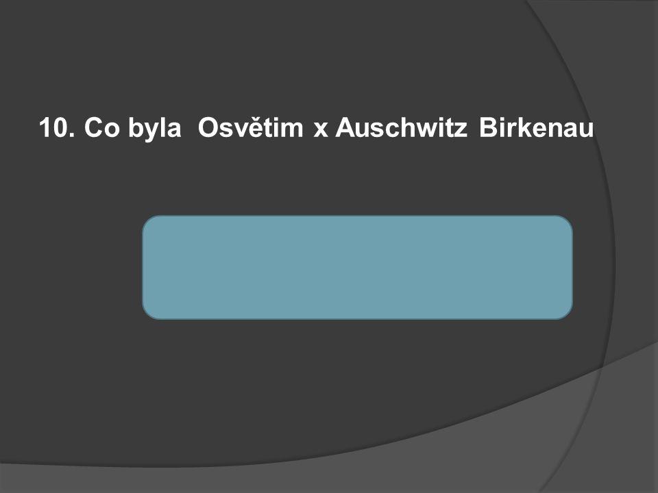 10. Co byla Osvětim x Auschwitz Birkenau Osvětim- koncentrační tábor Birkenau – vyhlazovací tábor