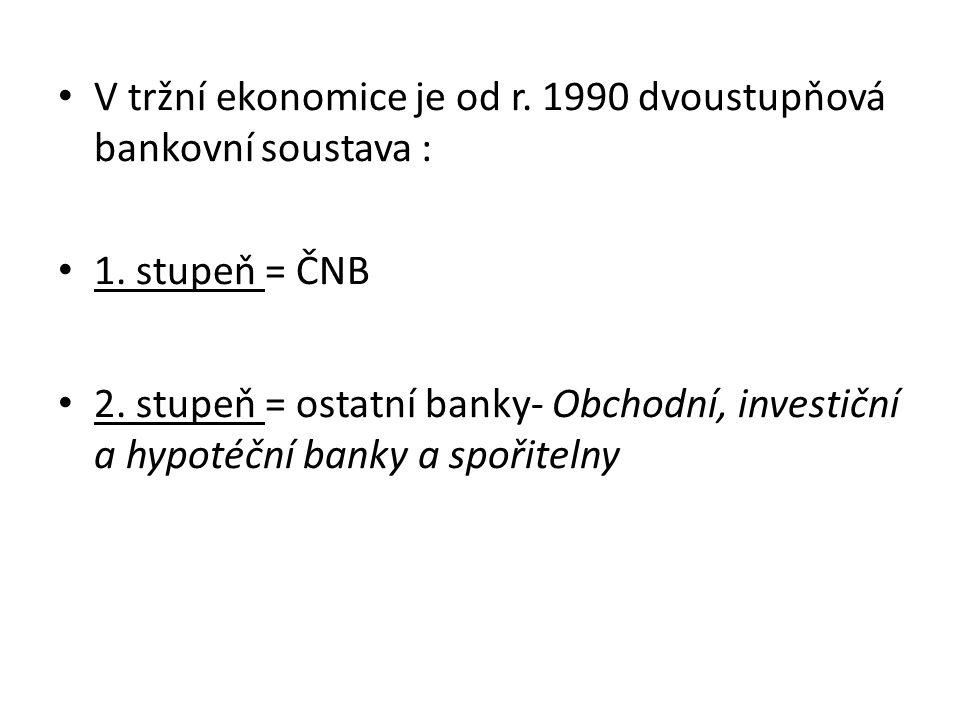 ČESKÁ NÁRODNÍ BANKA = ČNB Je právnickou osobou, která usměrňuje peněžní trh z měnových hledisek, reguluje činnost bank a spořitelen bankovními ekonomickými nástroji, emituje peníze a hospodaří podle zásad stanovených vládou.