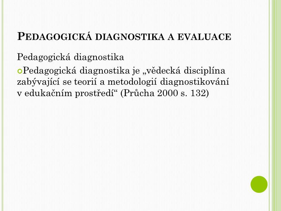 P OJMY P pedagogická diagnostika = vědecká disciplína zabývající se otázkami diagnostikování subjektů v edukačním prostředí (převážně školním) pedagogická evaluace = zjišťování, porovnávání a vysvětlování dat, charakterizujících stav, kvalitu, efektivnost práce škol (hodnocení) pedagogická psychologie = bývá často považována za disciplínu psychologie; zkoumá otázky výchovně vzdělávací praxe z psychologického hlediska; např.