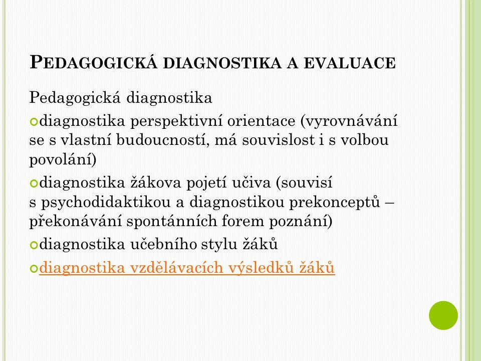 P EDAGOGICKÁ DIAGNOSTIKA A EVALUACE Pedagogická diagnostika diagnostika perspektivní orientace (vyrovnávání se s vlastní budoucností, má souvislost i s volbou povolání) diagnostika žákova pojetí učiva (souvisí s psychodidaktikou a diagnostikou prekonceptů – překonávání spontánních forem poznání) diagnostika učebního stylu žáků diagnostika vzdělávacích výsledků žáků