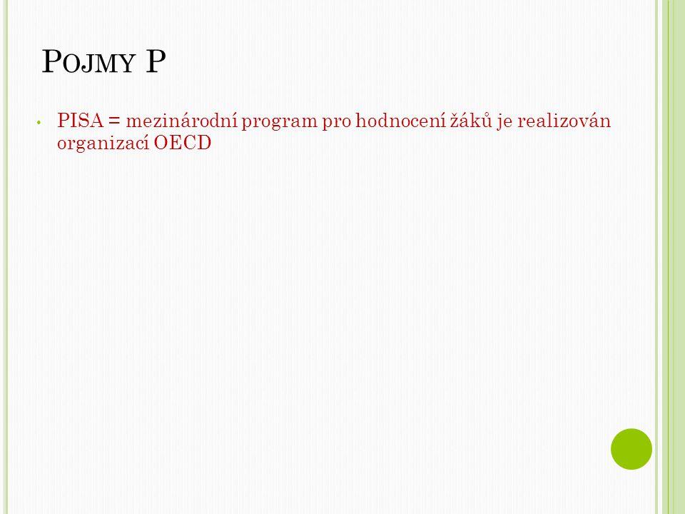 P OJMY P PISA = mezinárodní program pro hodnocení žáků je realizován organizací OECD