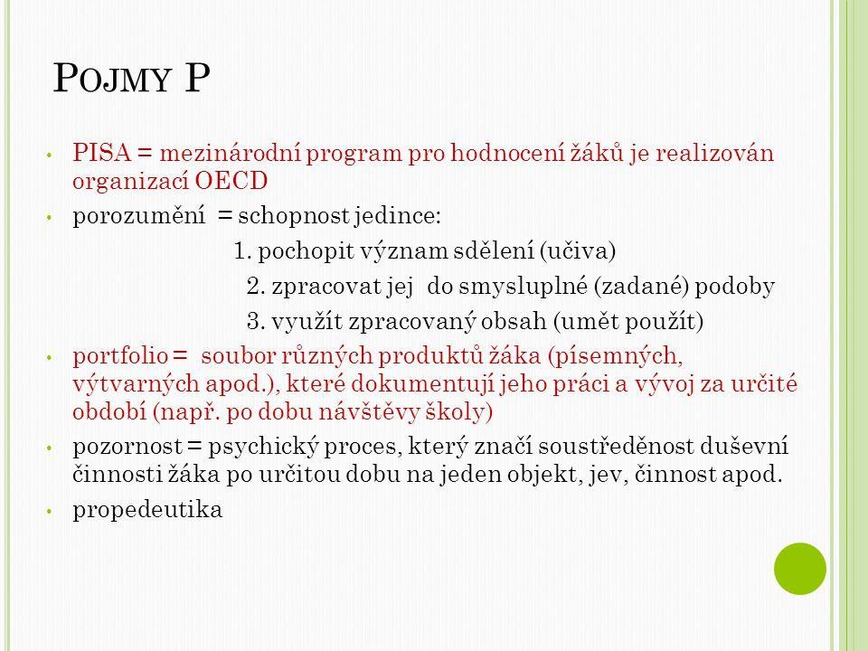 P OJMY P PISA = mezinárodní program pro hodnocení žáků je realizován organizací OECD porozumění = schopnost jedince: 1.
