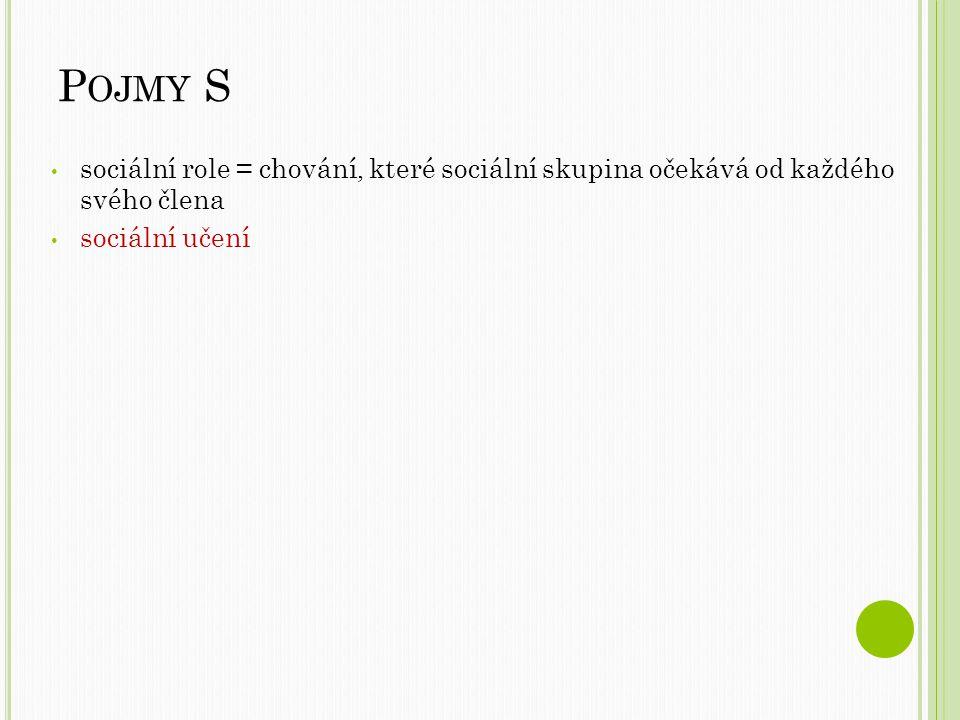 P OJMY S sociální role = chování, které sociální skupina očekává od každého svého člena sociální učení