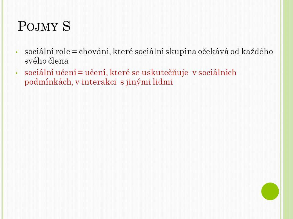 P OJMY S sociální role = chování, které sociální skupina očekává od každého svého člena sociální učení = učení, které se uskutečňuje v sociálních podmínkách, v interakci s jinými lidmi