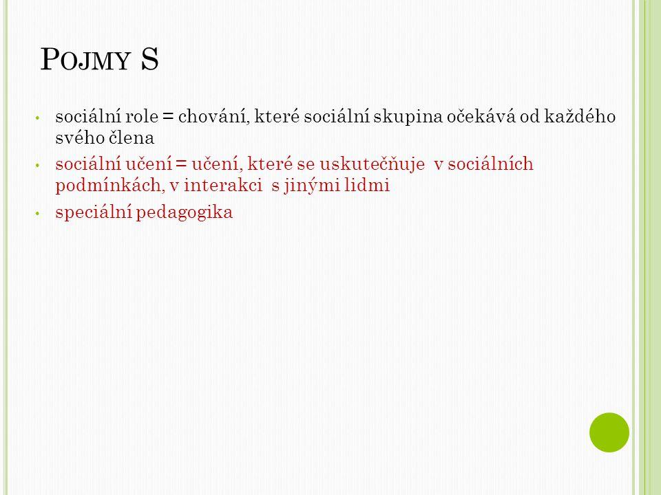 P OJMY S sociální role = chování, které sociální skupina očekává od každého svého člena sociální učení = učení, které se uskutečňuje v sociálních podmínkách, v interakci s jinými lidmi speciální pedagogika