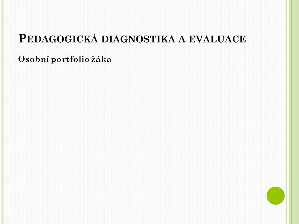 P EDAGOGICKÁ DIAGNOSTIKA A EVALUACE Osobní portfolio žáka