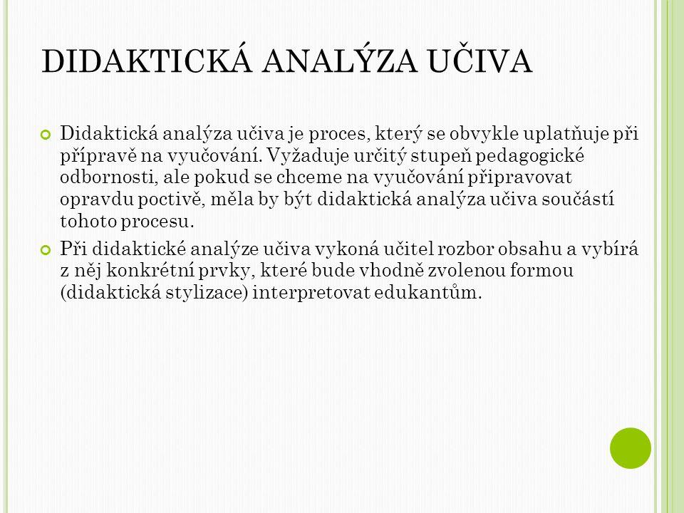 DIDAKTICKÁ ANALÝZA UČIVA Didaktická analýza učiva je proces, který se obvykle uplatňuje při přípravě na vyučování.