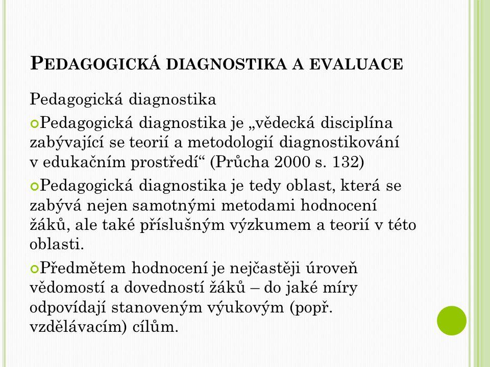 P EDAGOGICKÁ DIAGNOSTIKA A EVALUACE Pedagogická diagnostika diagnostika sociálních vztahů (sociální normy, mezilidské vztahy, hierarchie vztahů ve třídě, soc.