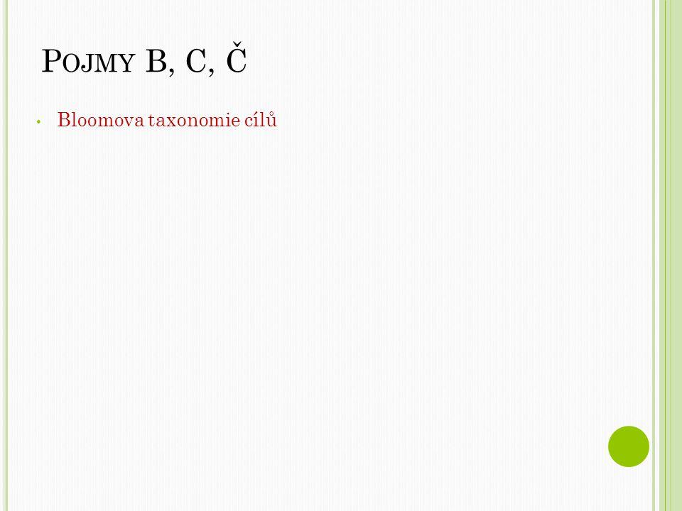 P OJMY B, C, Č Bloomova taxonomie cílů