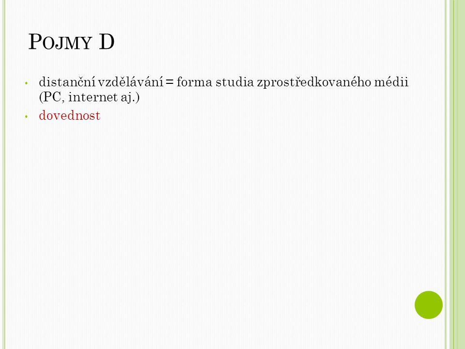 P OJMY D distanční vzdělávání = forma studia zprostředkovaného médii (PC, internet aj.) dovednost