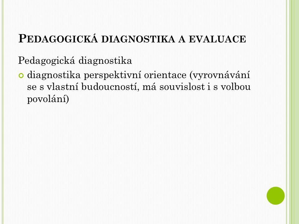 P EDAGOGICKÁ DIAGNOSTIKA A EVALUACE Pedagogická evaluace Zahrnuje hodnocení vzdělávacích procesů, hodnocení vzdělávacích projektů, hodnocení vzdělávacích výsledků, hodnocení učebnic aj. (Průcha, Walterová, Mareš 2003 s.