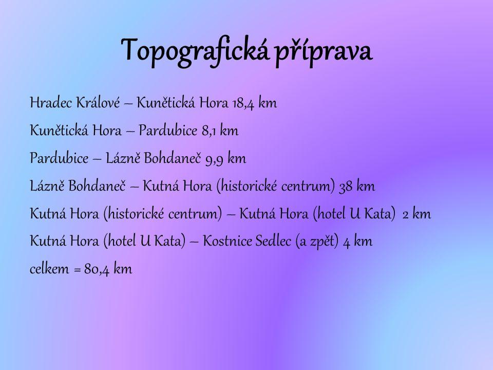 Hradec Králové – Kunětická Hora 18,4 km Kunětická Hora – Pardubice 8,1 km Pardubice – Lázně Bohdaneč 9,9 km Lázně Bohdaneč – Kutná Hora (historické ce