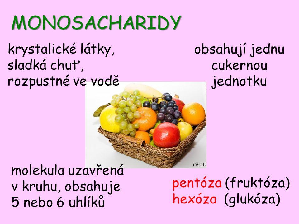 MONOSACHARIDY pentóza (fruktóza) hexóza (glukóza) Obr.