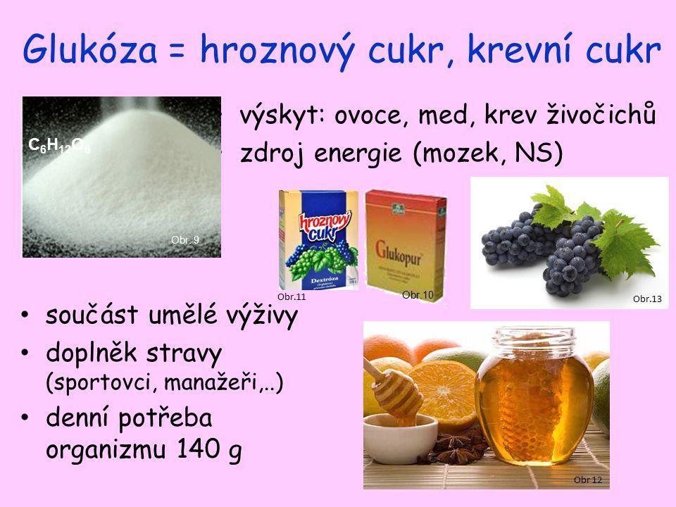 Glukóza = hroznový cukr, krevní cukr výskyt: ovoce, med, krev živočichů zdroj energie (mozek, NS) Obr.