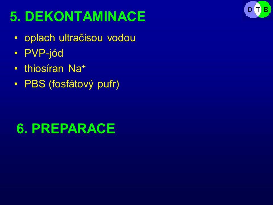 5. DEKONTAMINACE oplach ultračisou vodou PVP-jód thiosíran Na + PBS (fosfátový pufr) 6. PREPARACE