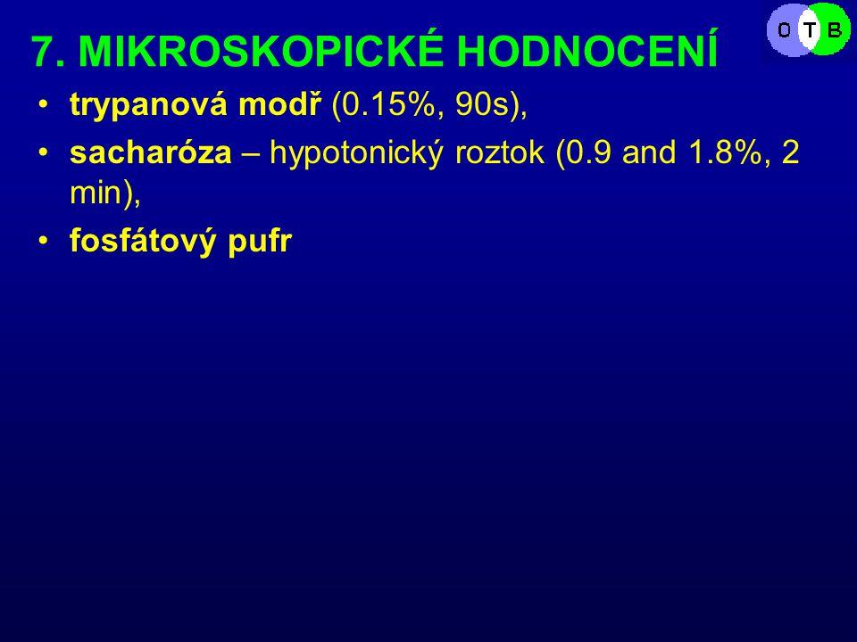 7. MIKROSKOPICKÉ HODNOCENÍ trypanová modř (0.15%, 90s), sacharóza – hypotonický roztok (0.9 and 1.8%, 2 min), fosfátový pufr
