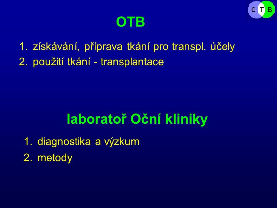 laboratoř Oční kliniky OTB 1.získávání, příprava tkání pro transpl.
