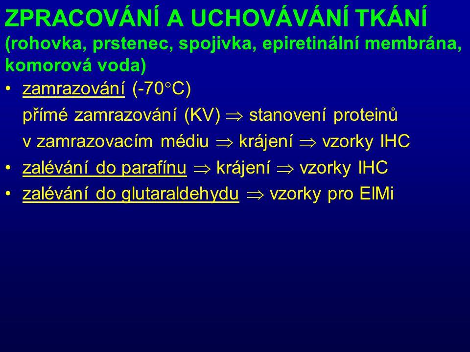 ZPRACOVÁNÍ A UCHOVÁVÁNÍ TKÁNÍ (rohovka, prstenec, spojivka, epiretinální membrána, komorová voda) zamrazování (-70°C) přímé zamrazování (KV)  stanovení proteinů v zamrazovacím médiu  krájení  vzorky IHC zalévání do parafínu  krájení  vzorky IHC zalévání do glutaraldehydu  vzorky pro ElMi