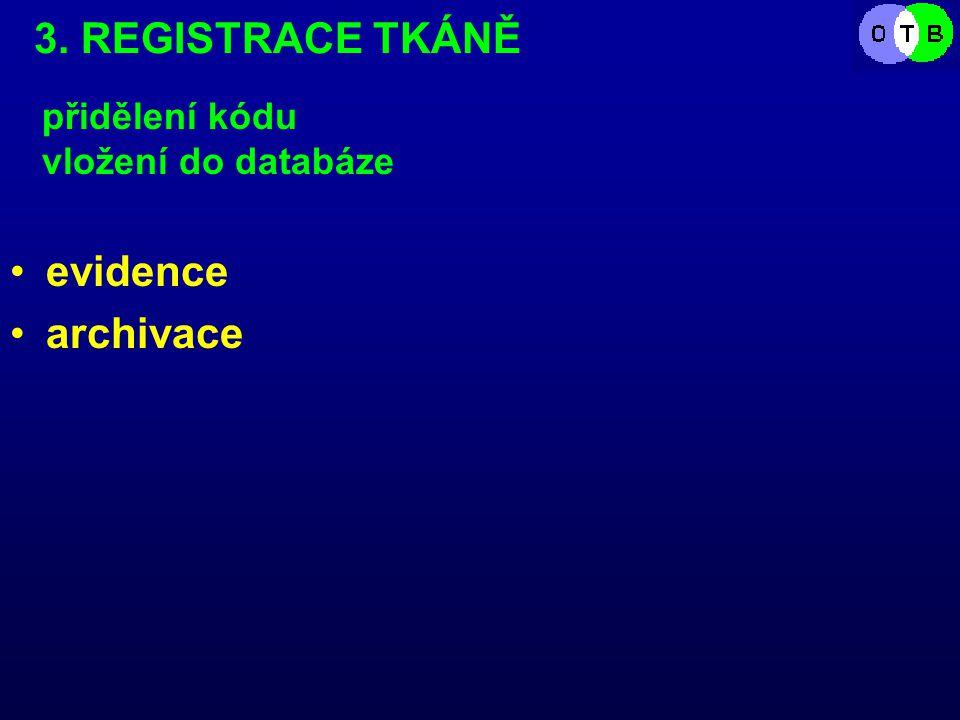 3. REGISTRACE TKÁNĚ evidence archivace přidělení kódu vložení do databáze
