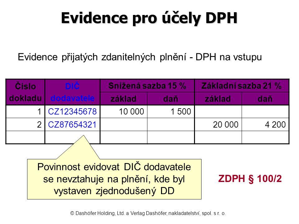 Evidence pro účely DPH Číslo dokladu DIČ dodavatele Snížená sazba 15 %Základní sazba 21 % základdaňzákladdaň 1CZ1234567810 0001 500 2CZ8765432120 0004 200 Evidence přijatých zdanitelných plnění - DPH na vstupu Povinnost evidovat DIČ dodavatele se nevztahuje na plnění, kde byl vystaven zjednodušený DD ZDPH § 100/2 © Dashöfer Holding, Ltd.