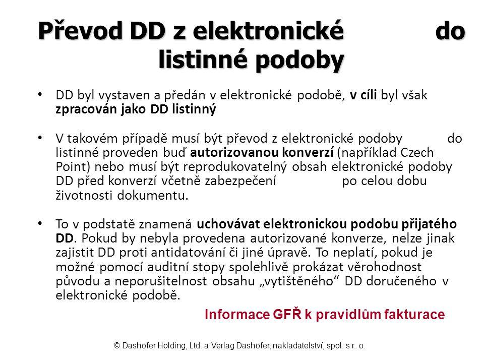 Převod DD z listinné do elektronické podoby Pokud převod z listinné do elektronické podoby provádí vystavitel písemnosti, pak stačí, když elektronickou variantu zabezpečí platným uznávaným elektronickým podpisem či odešle datovou schránkou.