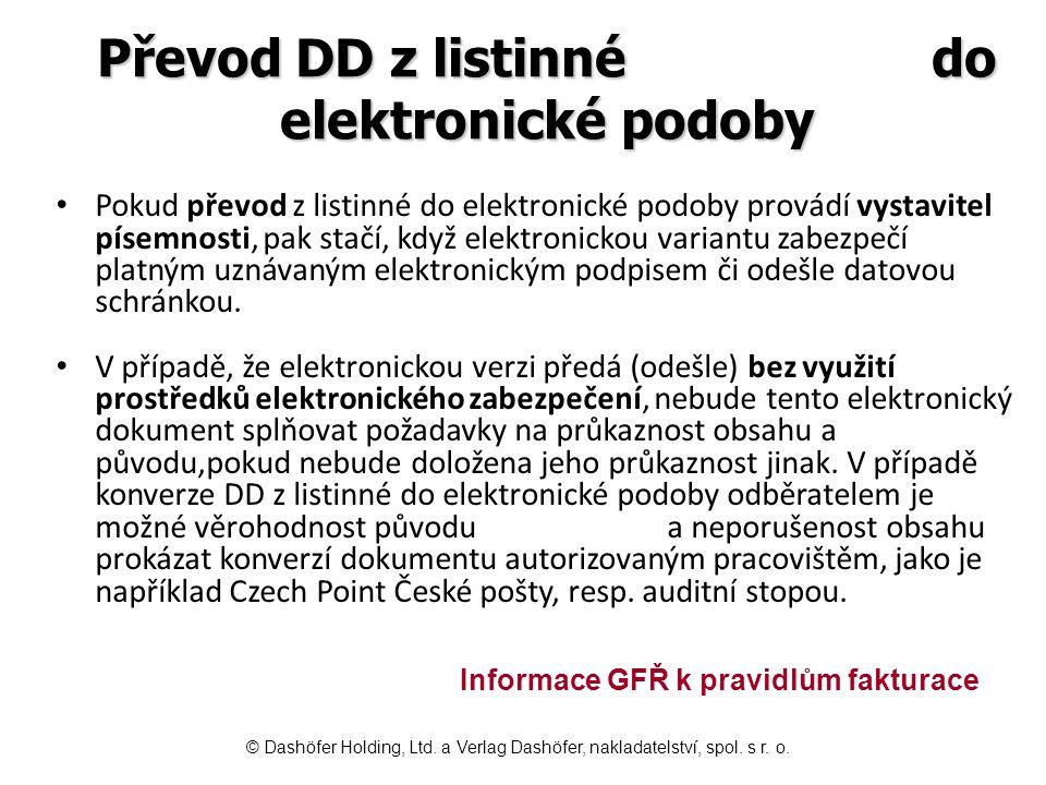 Převod DD z listinné do elektronické podoby Pokud převod z listinné do elektronické podoby provádí vystavitel písemnosti, pak stačí, když elektronicko
