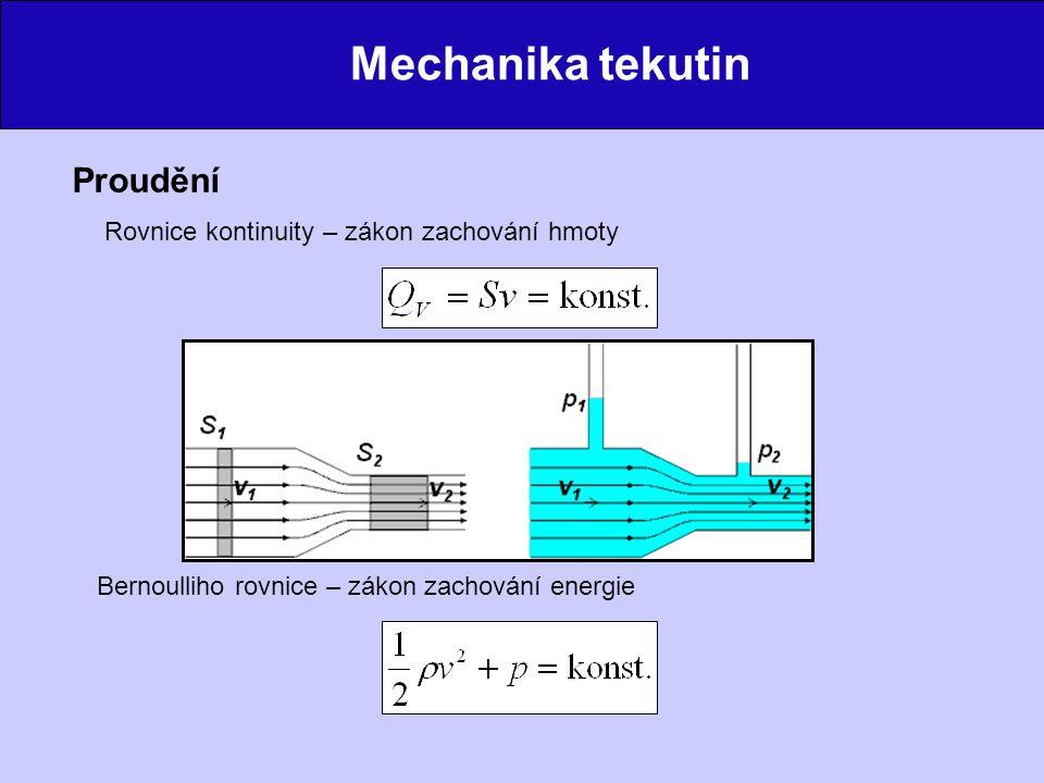 Mechanika tekutin Proudění Rovnice kontinuity – zákon zachování hmoty Bernoulliho rovnice – zákon zachování energie