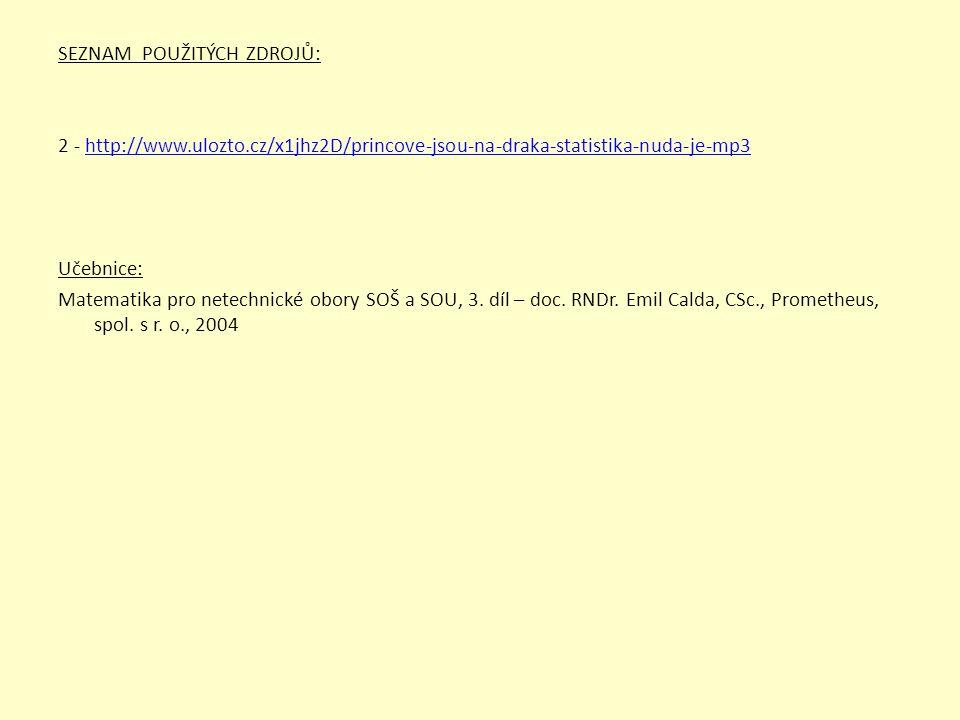 SEZNAM POUŽITÝCH ZDROJŮ: 2 - http://www.ulozto.cz/x1jhz2D/princove-jsou-na-draka-statistika-nuda-je-mp3http://www.ulozto.cz/x1jhz2D/princove-jsou-na-d