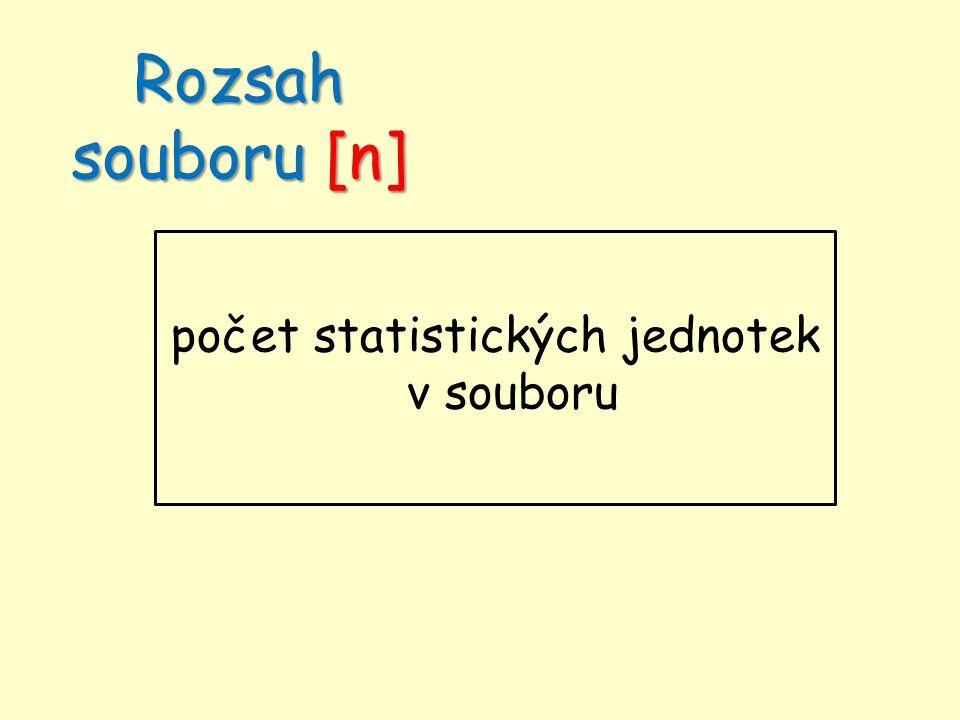 Rozsah souboru [n] počet statistických jednotek v souboru