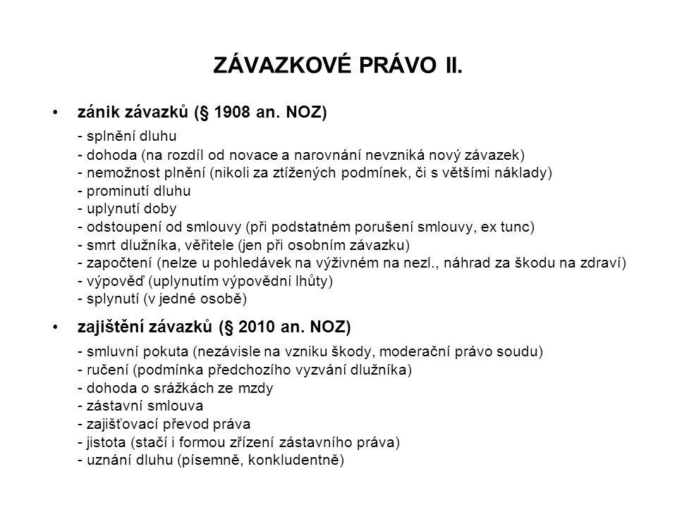 ZÁVAZKOVÉ PRÁVO II. zánik závazků (§ 1908 an.