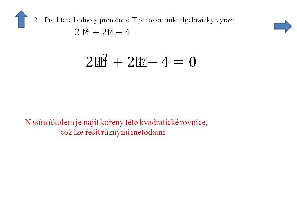 Naším úkolem je najít kořeny této kvadratické rovnice, což lze řešit různými metodami