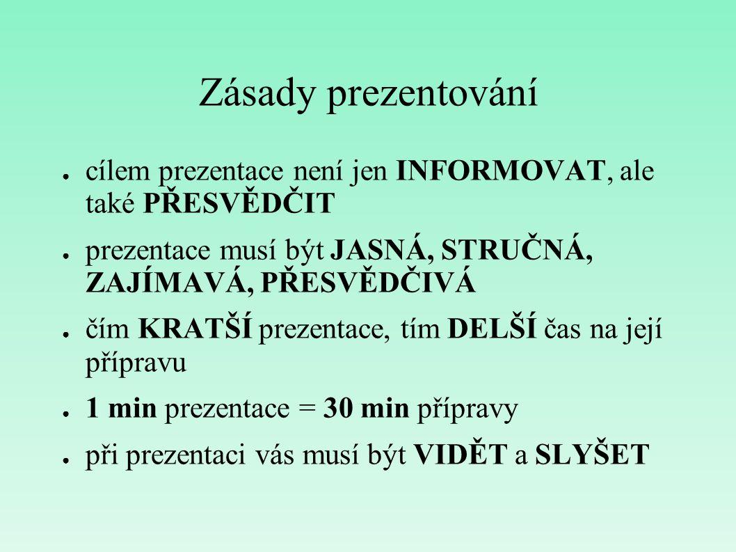 Zásady prezentování ● cílem prezentace není jen INFORMOVAT, ale také PŘESVĚDČIT ● prezentace musí být JASNÁ, STRUČNÁ, ZAJÍMAVÁ, PŘESVĚDČIVÁ ● čím KRAT