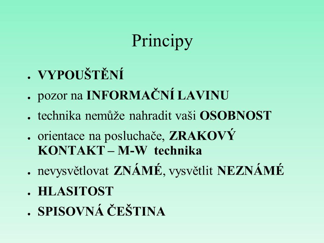 Principy ● VYPOUŠTĚNÍ ● pozor na INFORMAČNÍ LAVINU ● technika nemůže nahradit vaši OSOBNOST ● orientace na posluchače, ZRAKOVÝ KONTAKT – M-W technika