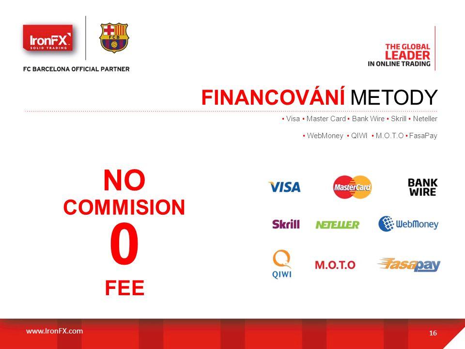 FINANCOVÁNÍ METODY 16 NO COMMISION www.IronFX.com 0 FEE Visa Master Card Bank Wire Skrill Neteller WebMoney QIWI M.O.T.O FasaPay