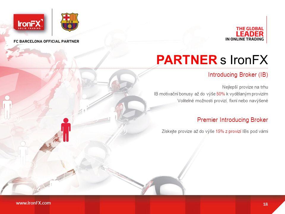 PARTNER s IronFX 18 Introducing Broker (IB) Nejlepší provize na trhu IB motivační bonusy až do výše 50% k vydělaným provizím Volitelné možnosti proviz