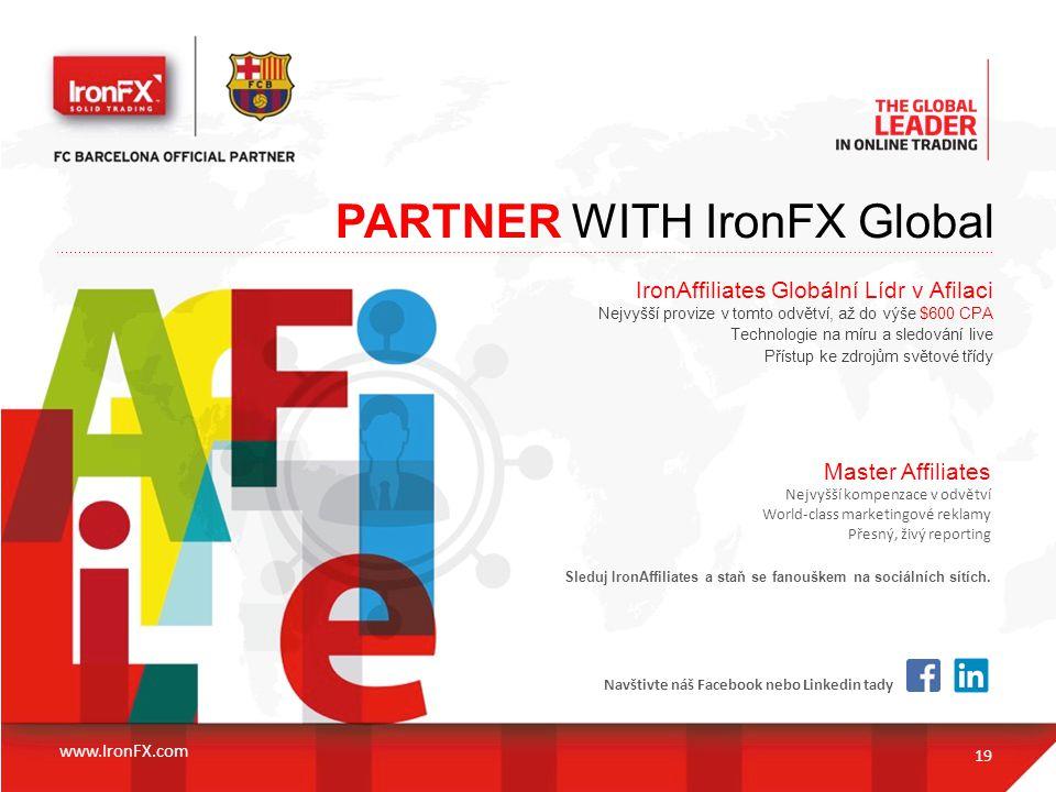 PARTNER WITH IronFX Global 19 IronAffiliates Globální Lídr v Afilaci Nejvyšší provize v tomto odvětví, až do výše $600 CPA Technologie na míru a sledo