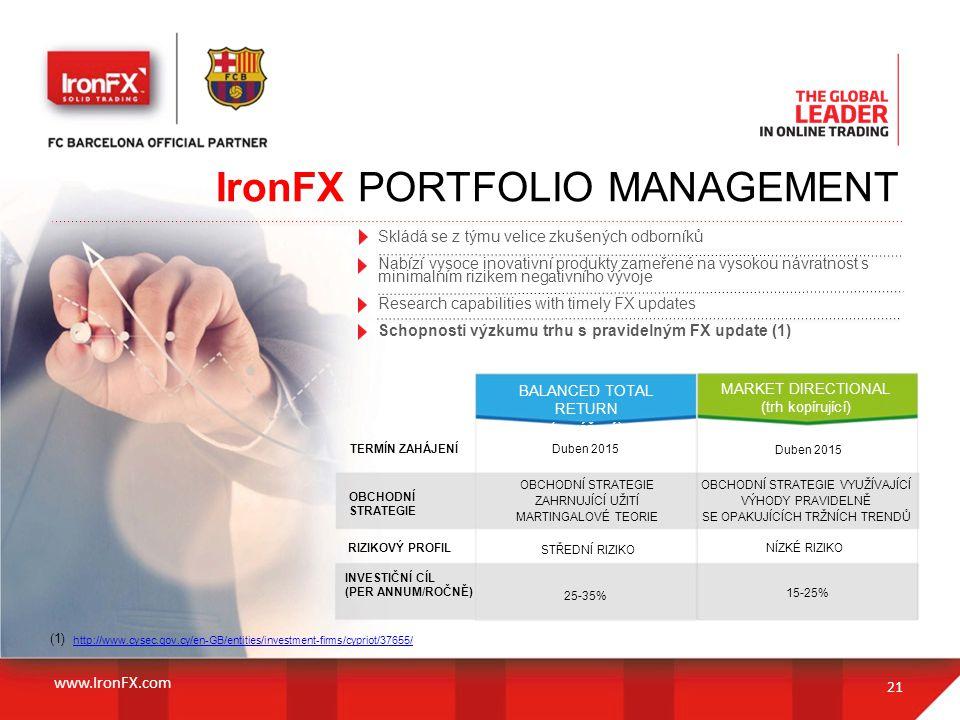 21 IronFX PORTFOLIO MANAGEMENT Skládá se z týmu velice zkušených odborníků Nabízí vysoce inovativní produkty zameřené na vysokou návratnost s minimaln