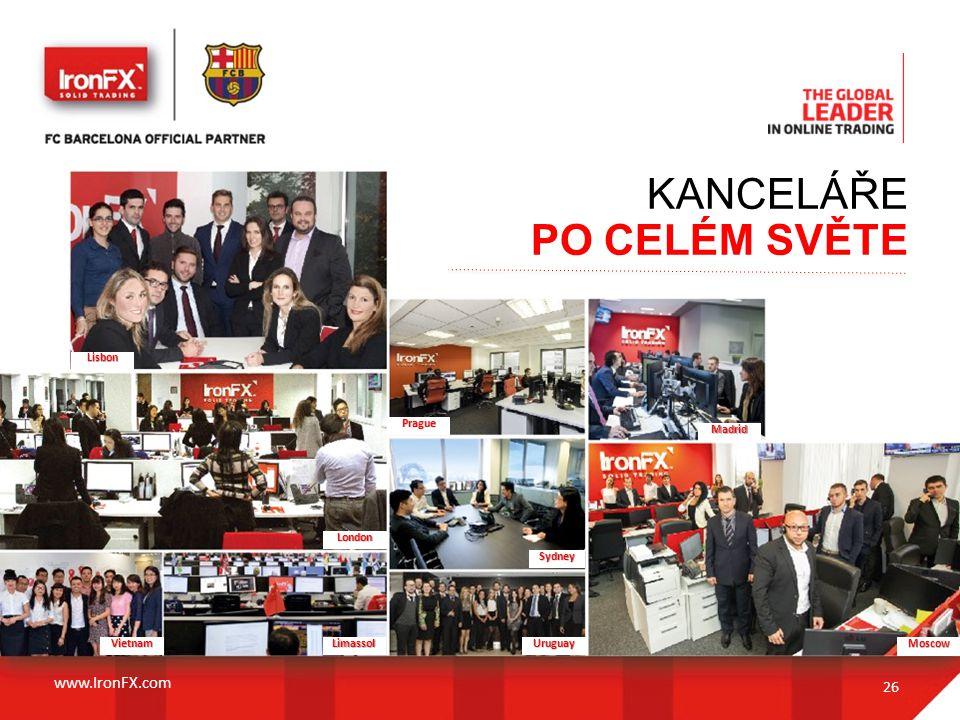 26 Sydney Limassol Madrid Prague UruguayVietnam London Lisbon Moscow KANCELÁŘE PO CELÉM SVĚTE www.IronFX.com