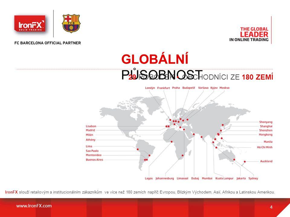 GLOBÁLNÍ PŮSOBNOST 4 IronFX slouží retailovým a institucionálním zákazníkům ve více než 180 zemích napříč Evropou, Blízkým Východem, Asií, Afrikou a L