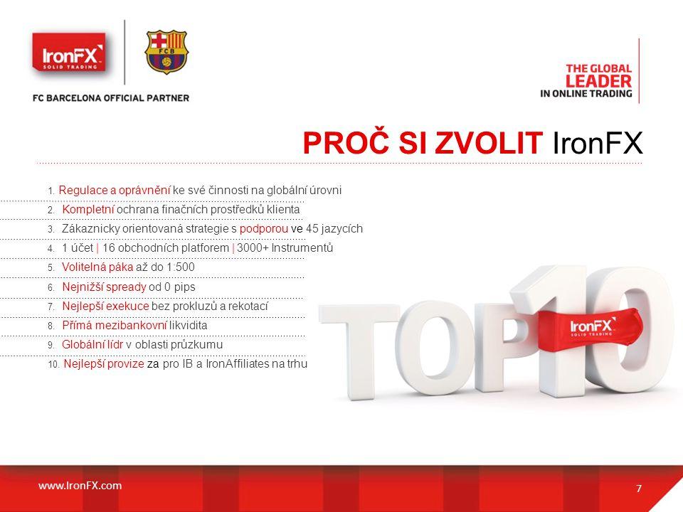 PROČ SI ZVOLIT IronFX 7 1. Regulace a oprávnění ke své činnosti na globální úrovni 2. Kompletní ochrana finačních prostředků klienta 3. Zákaznicky ori