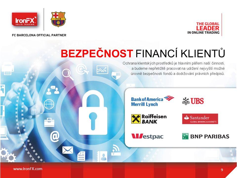 BEZPEČNOST FINANCÍ KLIENTŮ Ochrana klientských prostředků je hlavním pilířem naší činnosti, a budeme nepřetržitě pracovat na udržení nejvyšší možné úr