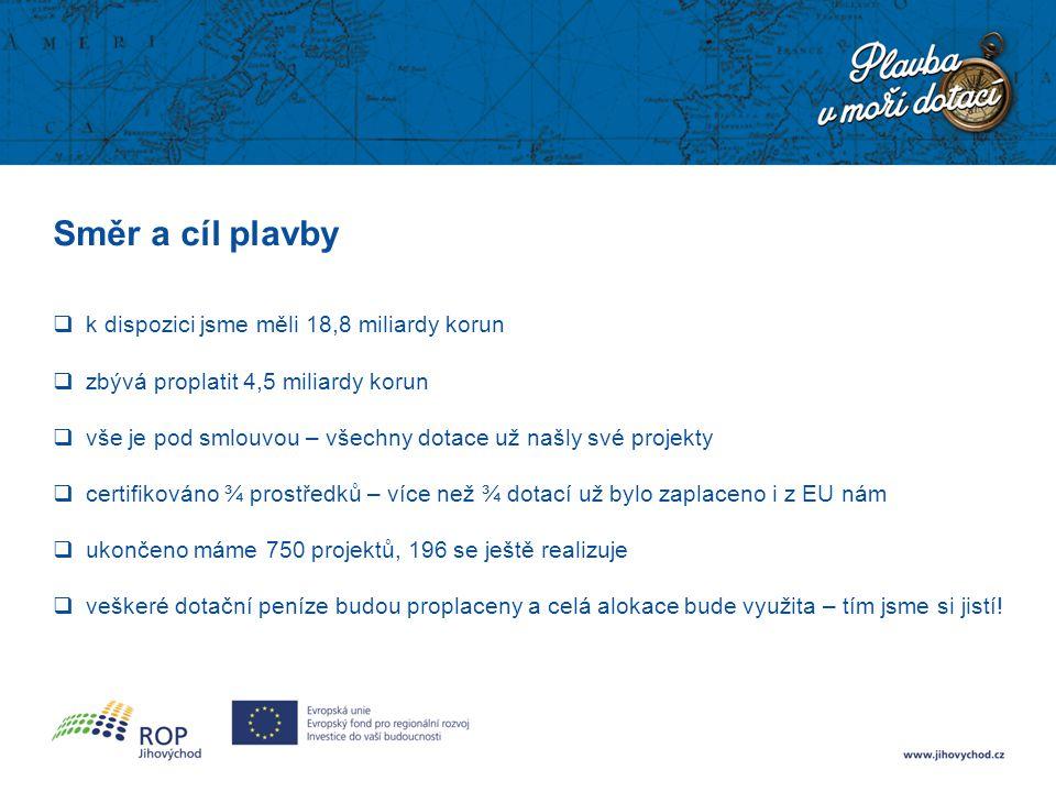 Směr a cíl plavby  k dispozici jsme měli 18,8 miliardy korun  zbývá proplatit 4,5 miliardy korun  vše je pod smlouvou – všechny dotace už našly své projekty  certifikováno ¾ prostředků – více než ¾ dotací už bylo zaplaceno i z EU nám  ukončeno máme 750 projektů, 196 se ještě realizuje  veškeré dotační peníze budou proplaceny a celá alokace bude využita – tím jsme si jistí!