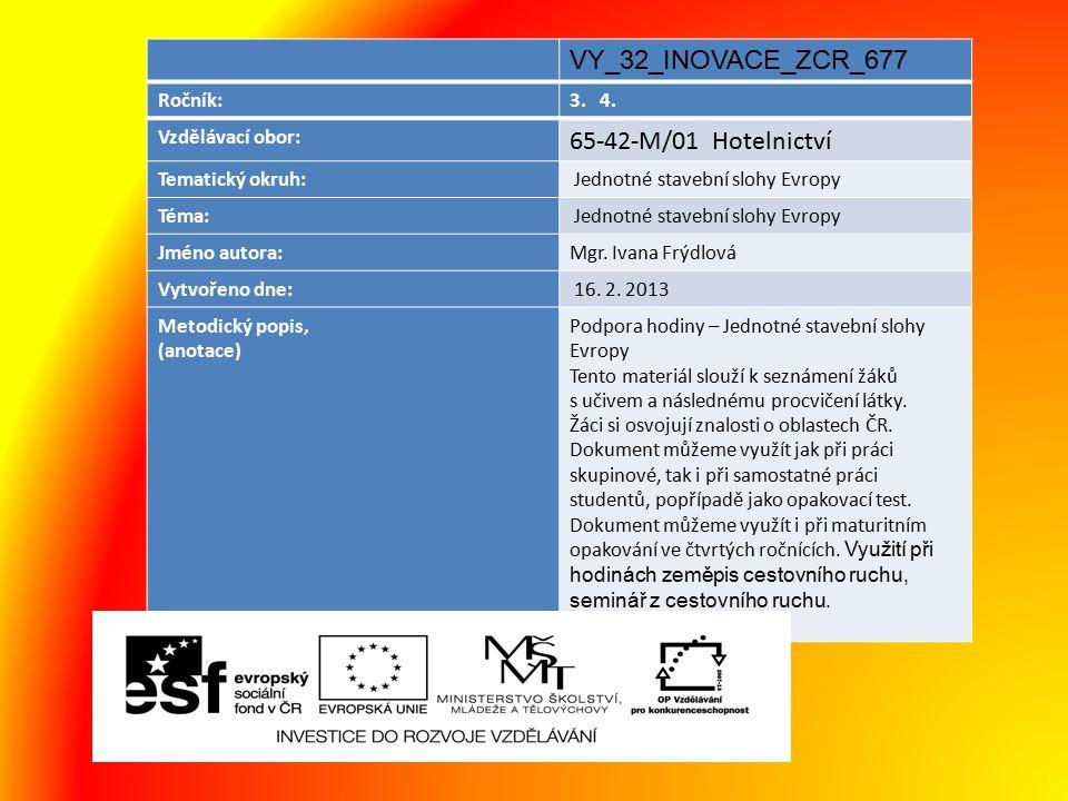 VY_32_INOVACE_ZCR_677 Ročník:3. 4. Vzdělávací obor: 65-42-M/01 Hotelnictví Tematický okruh: Jednotné stavební slohy Evropy Téma: Jednotné stavební slo