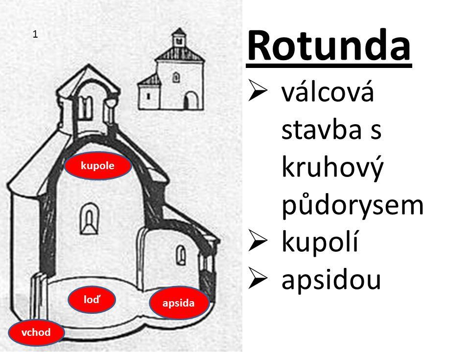  válcová stavba s kruhový půdorysem  kupolí  apsidou vchod kupole loď apsida 1
