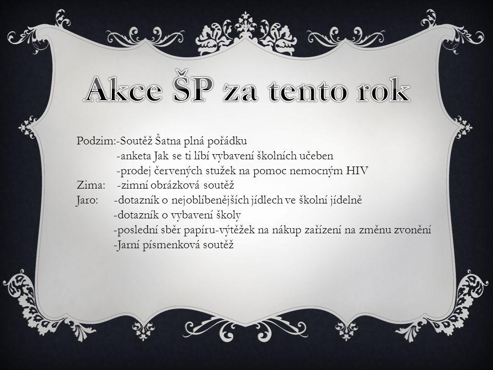 Podzim:-Soutěž Šatna plná pořádku -anketa Jak se ti líbí vybavení školních učeben -prodej červených stužek na pomoc nemocným HIV Zima: -zimní obrázkov
