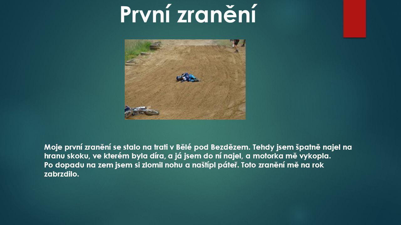 První zranění Moje první zranění se stalo na trati v Bělé pod Bezdězem.