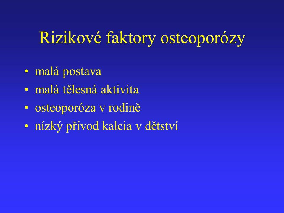 Rizikové faktory osteoporózy malá postava malá tělesná aktivita osteoporóza v rodině nízký přívod kalcia v dětství