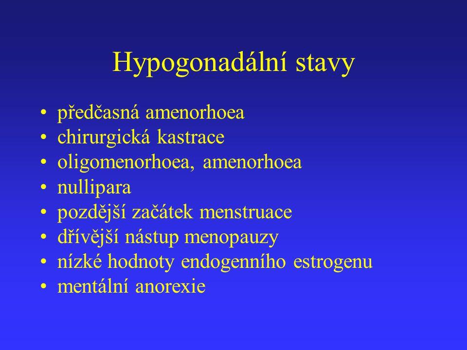 Hypogonadální stavy předčasná amenorhoea chirurgická kastrace oligomenorhoea, amenorhoea nullipara pozdější začátek menstruace dřívější nástup menopau