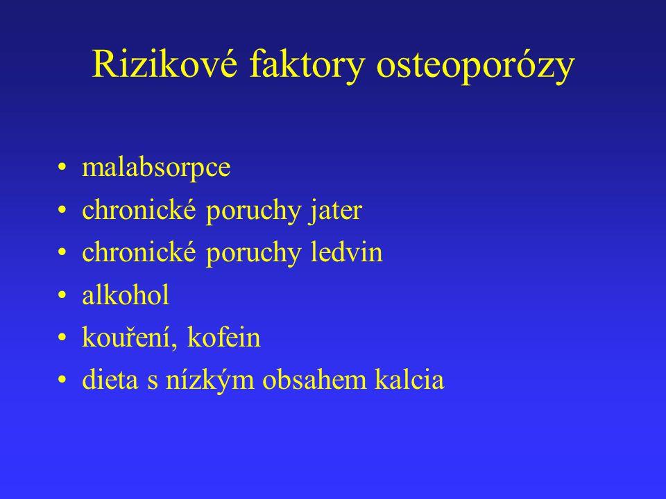 Rizikové faktory osteoporózy malabsorpce chronické poruchy jater chronické poruchy ledvin alkohol kouření, kofein dieta s nízkým obsahem kalcia