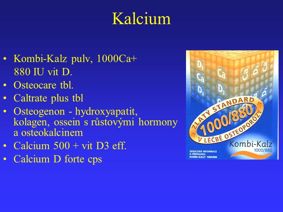 Kalcium Kombi-Kalz pulv, 1000Ca+ 880 IU vit D. Osteocare tbl. Caltrate plus tbl Osteogenon - hydroxyapatit, kolagen, ossein s růstovými hormony a oste